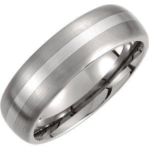 Titanium & Sterling Silver Inlay 7mm Satin Finish Domed Band Size 10 - Moijey Fine Jewelry and Diamonds