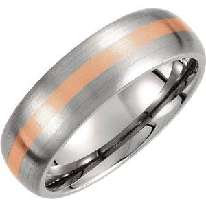 titanium band | titanium band with rose inlay | rose gold inlay domed band