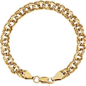 "14K Yellow 7mm Solid Double Link Charm 7"" Bracelet - Moijey Fine Jewelry and Diamonds"