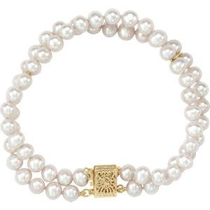"14K Yellow 5-5.5mm Freshwater Cultured Pearl Double Strand 7"" Bracelet - Moijey Fine Jewelry and Diamonds"