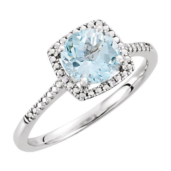 Sterling Silver Sky Blue Topaz & .01 CTW Diamond Halo Ring