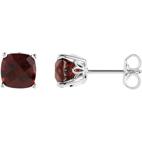 cushion cut mozambique garnet earrings | scroll stud earrings cushion cut | scroll stud mozambique garnet earrings cushion cut