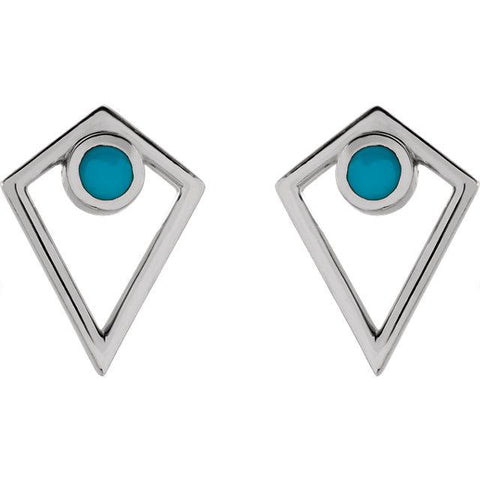 Turquoise Cabochon Pyramid Earrings - Moijey Fine Jewelry and Diamonds