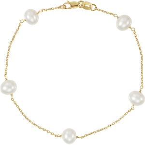 "14K Yellow Pearl Station 7"" Bracelet - Moijey Fine Jewelry and Diamonds"