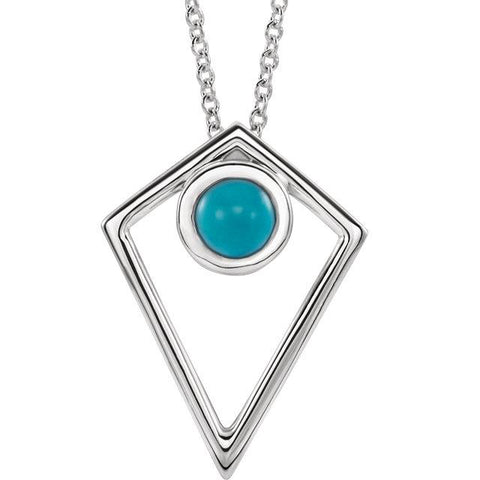 cabochon turquoise pyramid necklace | sterling silver turquoise pyramid necklace | turquoise pyramid necklace