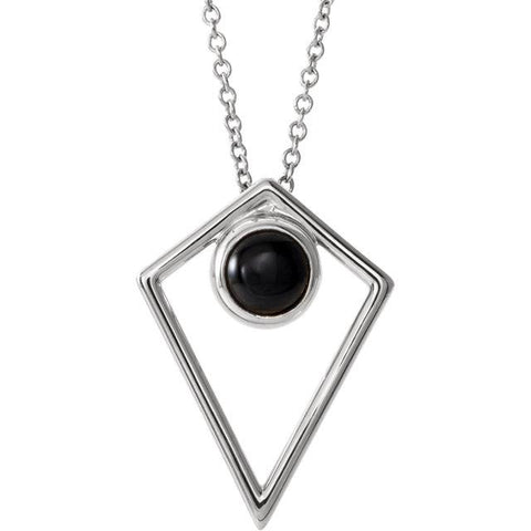 Onyx Cabochon Pyramid Necklace | Sterling Silver Onyx Necklace | Pyramid Shape Necklace