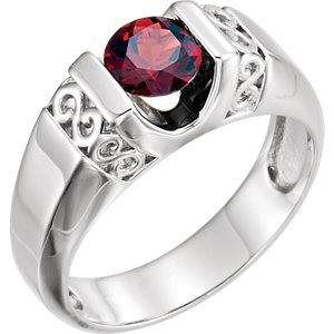 Men's Mozambique Garnet Ring | Sterling Silver Men's Garnet Ring | Polished Men's Ring