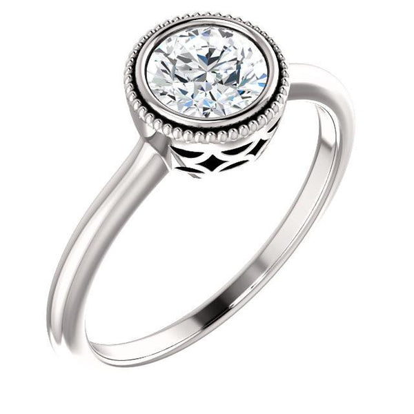 14K White 5.8mm Round Bezel Set Engagement Ring Mounting
