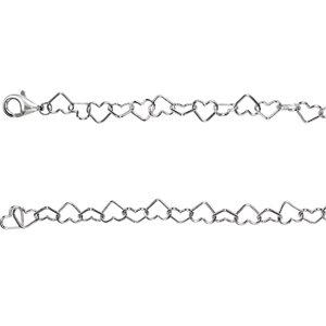 "Sterling Silver 6mm Heart Link 20"" Chain - Moijey Fine Jewelry and Diamonds"