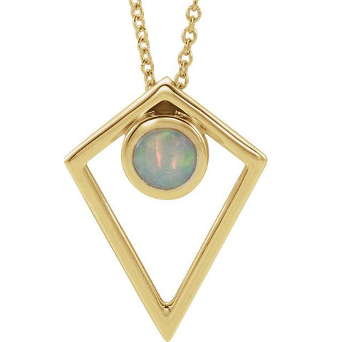 Opal Cabochon Pyramid Necklace | Cabochon Necklace | Opal Necklace