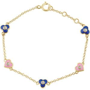 "14K Yellow .04 CTW Diamond Flowers & Hearts 5-7"" Bracelet - Moijey Fine Jewelry and Diamonds"