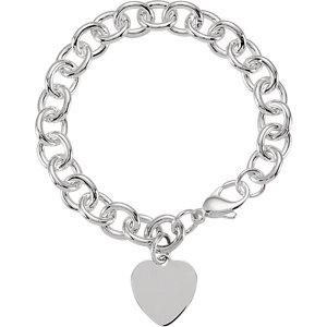 "Sterling Silver Heart Charm Cable 7.5"" Bracelet - Moijey Fine Jewelry and Diamonds"