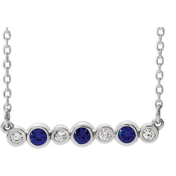 "Blue Sapphire & .08 CTW Diamond Bezel-Set Bar 16-18"" Necklace - Moijey Fine Jewelry and Diamonds"