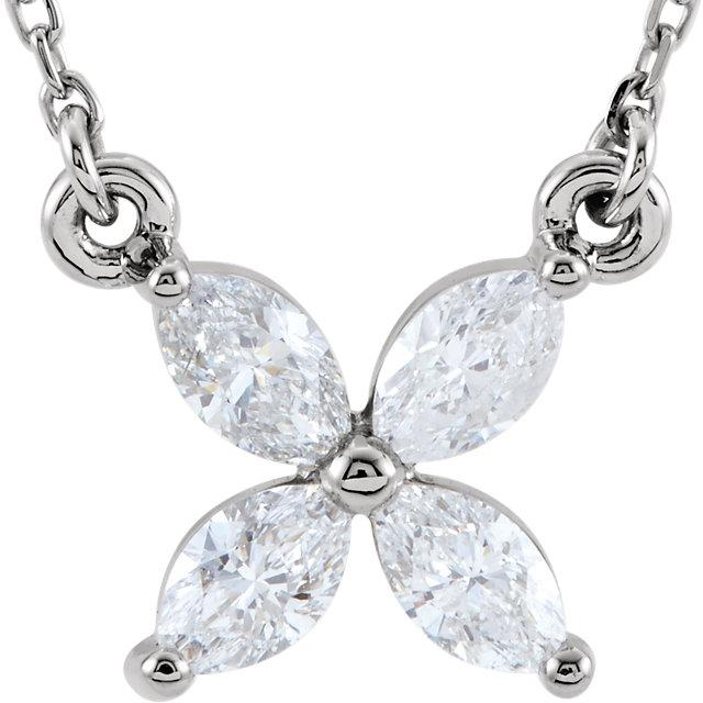 "Floral Diamond Cluster 16"" Necklace"