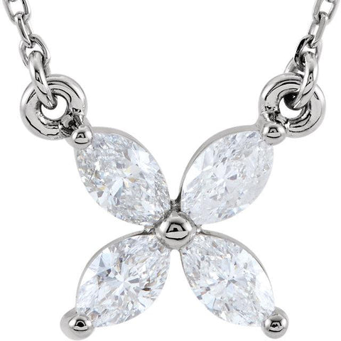 "Floral Diamond Cluster 16"" Necklace - Moijey Fine Jewelry and Diamonds"