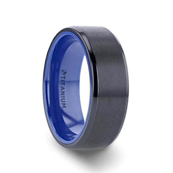 Black Titanium Ring with Brushed Center and Vibrant Blue Inside