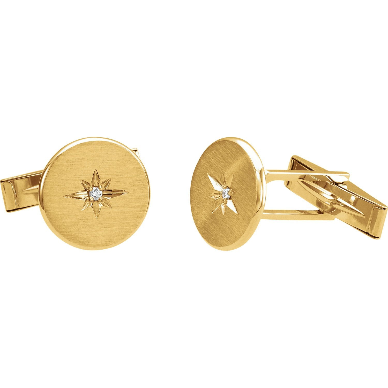 14K Gold Diamond Starburst Cuff Links