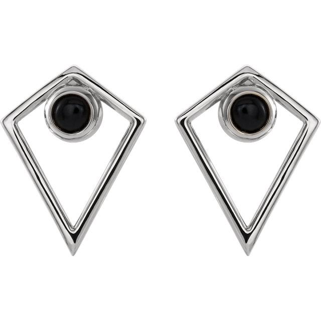 Onyx Cabochon Pyramid Earrings