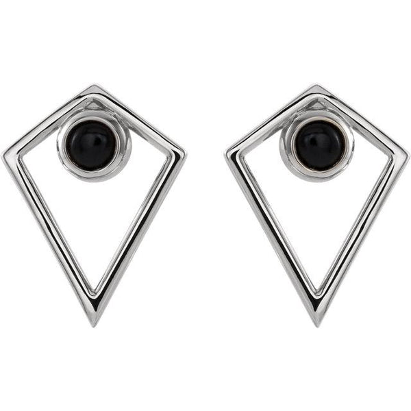 Onyx Cabochon Pyramid Earrings - Moijey Fine Jewelry and Diamonds