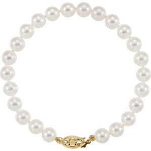 "14K Yellow 6-6.5mm Akoya Cultured Pearl 7"" Bracelet - Moijey Fine Jewelry and Diamonds"