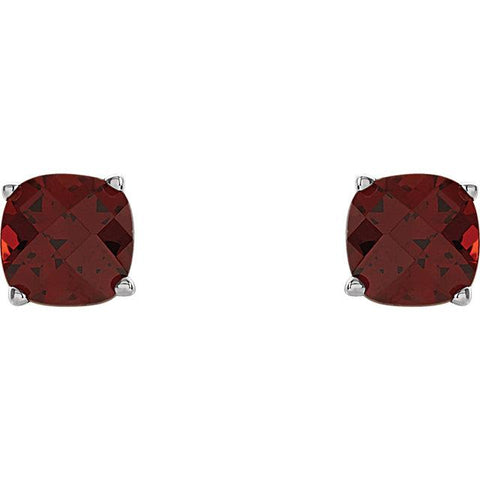 Cushion-Cut Mozambique Garnet Scroll Stud Earrings (5mm) - Moijey Fine Jewelry and Diamonds