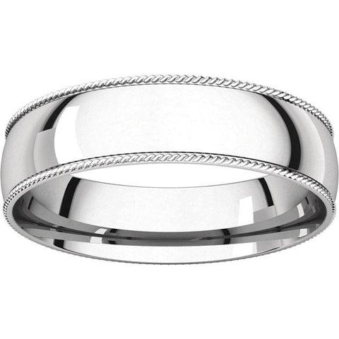 5mm Rope Pattern Half-Round Comfort-Fit Band - Moijey Fine Jewelry and Diamonds