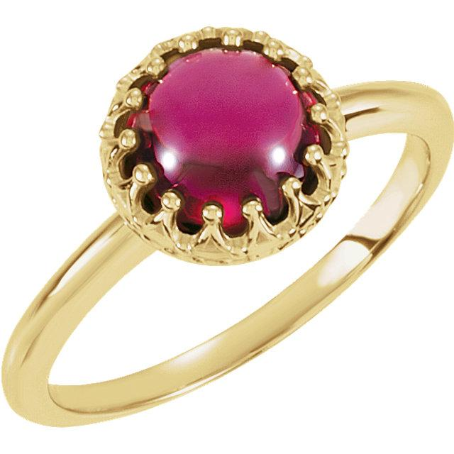 Rhodolite Garnet Bezel-Set Crown Ring (8mm)