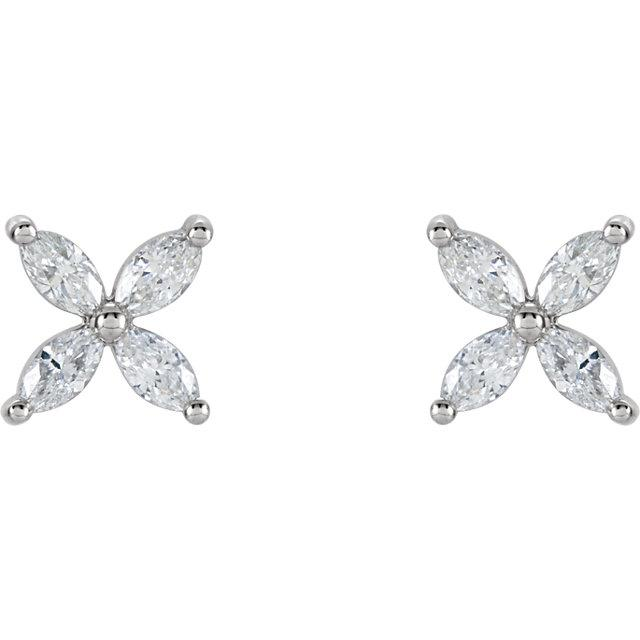 5/8 CTW Diamond Cluster Earrings