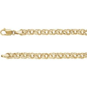 "14K Yellow Solid Double Link Charm 7"" Bracelet - Moijey Fine Jewelry and Diamonds"
