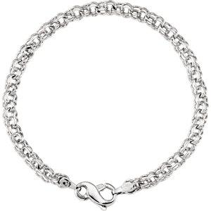 14K White Solid Double Link Charm Bracelet - Moijey Fine Jewelry and Diamonds