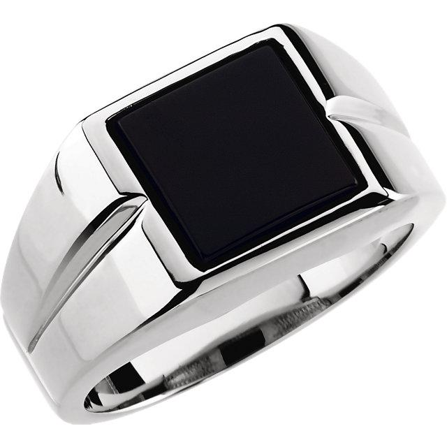 10mm Square Onyx Ring