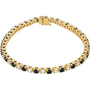14K Yellow Blue Sapphire & 2 1/3 CTW Diamond Bracelet - Moijey Fine Jewelry and Diamonds