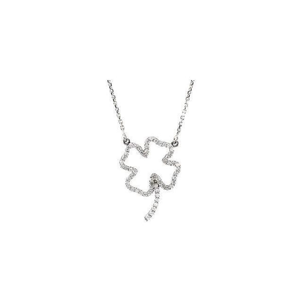 14K White Gold Diamond Clover Necklace