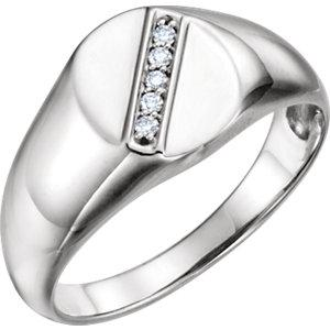 Diamond Men's Oval Signet Ring - Moijey Fine Jewelry and Diamonds