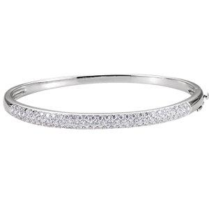 "14K White 1 1/2 CTW Diamond Cuff 7"" Bracelet - Moijey Fine Jewelry and Diamonds"