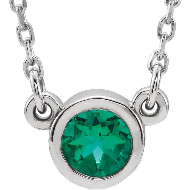 Bezel-Set Emerald Necklace
