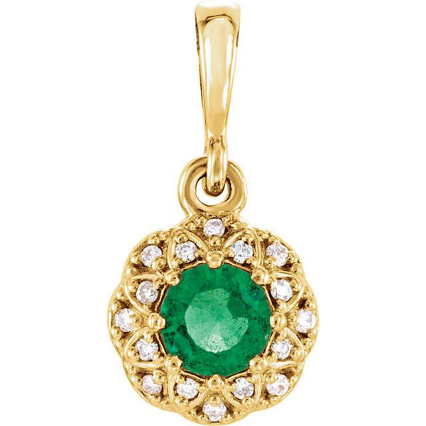14K Gold Emerald & Diamond Halo-Style Pendant