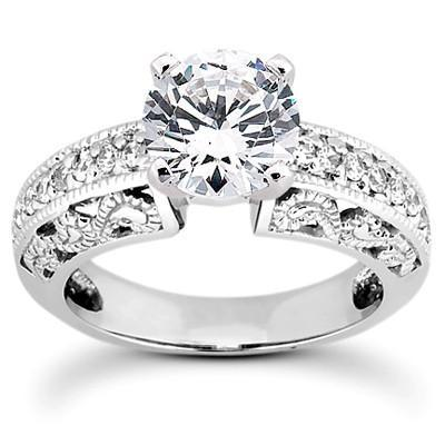 Fancy Antique-Styled .32CTW Diamond Semi-Mount 6.5mm Center - Moijey Fine Jewelry and Diamonds