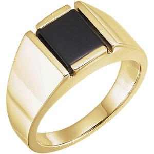 14K Yellow Gold Men's Bezel-Set Onyx Solitaire Ring - Moijey Fine Jewelry and Diamonds