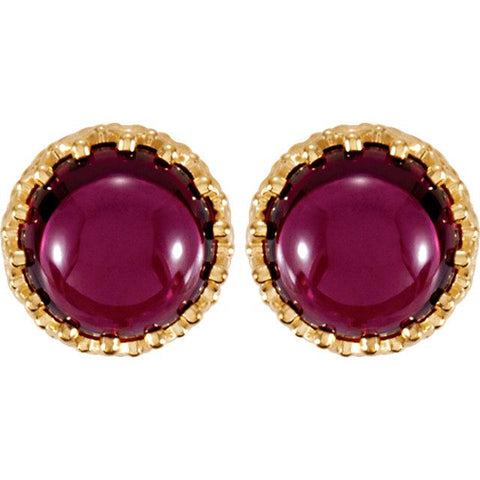 rhodolite garnet stud earrings | yellow gold crown bezel earring | rhodolite garnet stud earrings with yellow gold crown