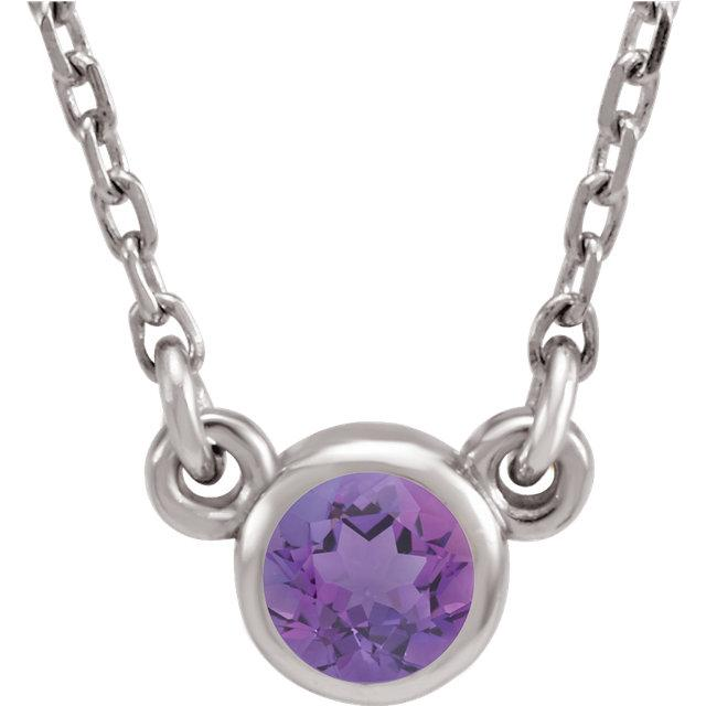 Amethyst Bezel-Set Necklace (4mm)