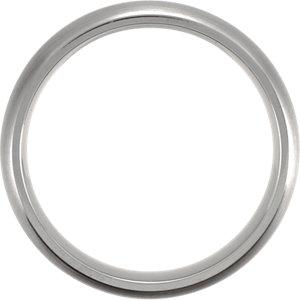 Titanium & Sterling Silver Inlay 7mm Satin Finish Domed Band Size 10