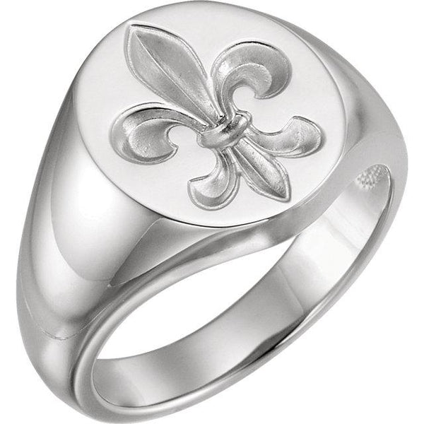 Men's Fleur-de-lis Signet Ring - Moijey Fine Jewelry and Diamonds