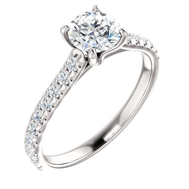 14K White Gold French-Set Engagement Ring Mounting