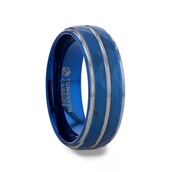 Blue Ion-Plated Tungsten Carbide Ring With Faceted Center And Stepped Edges