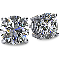 1/2-2CTW 14kt Gold 4-Prong Basket Style Round Diamond Studs with Screw Backs