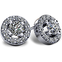 3/8- 2 1/2CTW 14kt Gold Halo-Style Diamond Earrings with Friction Backs