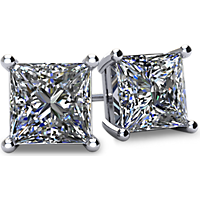 1/2-2CTW 14kt Gold 4-Prong Princess-Cut Diamond Stud Earrings with Screw Backs