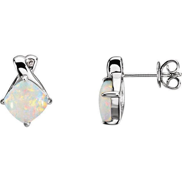 White Gold Opal & Diamond Earrings - Moijey Fine Jewelry and Diamonds