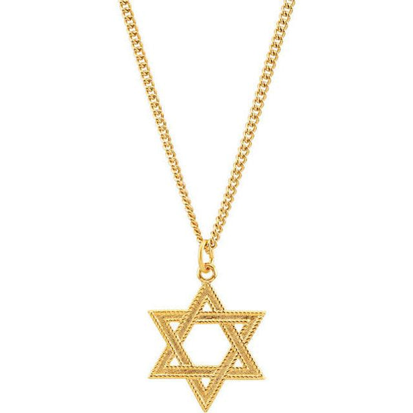 "24kt 24"" Gold Plated Star of David Necklace"